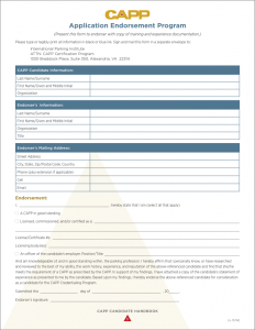 CAPP Applicant Endorsement Form