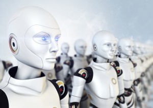 Robots standing in the row