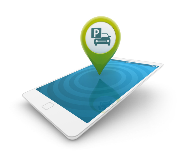 3d smartphone - Map pointer with parking icon - Parking on icon staff, icon transportation, icon services, icon police, icon schedule, icon calendar, icon employment, icon procurement, icon history, icon contact, icon home, icon medical, icon weather, icon meals,
