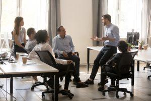 Supervisor coaching employees