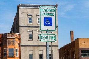 accessible parking sign on street