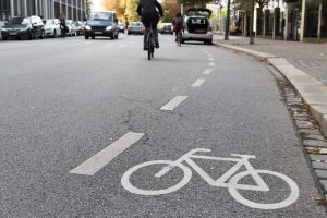 A bike lane improves mobility on a city street