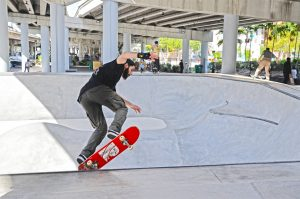 Skateboarder using Miami's free skate park