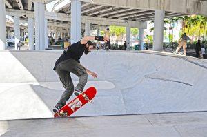 Skateboarder using Miami's free skate park