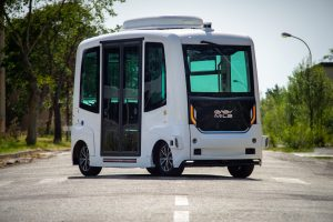 EasyMile self-driving bus on a road