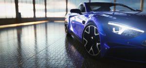 Luxury car in a luxury parking space