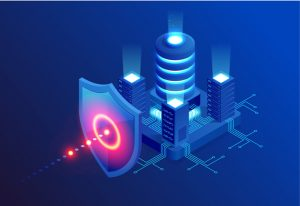 A shield protects buildings from data theft.
