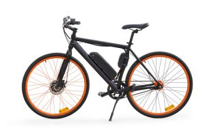 Black e-bike with orange wheel rims