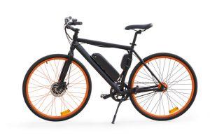 Black e-bike with orange wheel rims