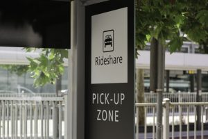 sign for ride-share pickup and dropoff at an airport
