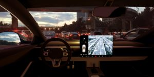 self-driving car on  city highway