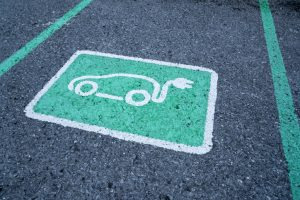 Parking space marked for electric vehicles