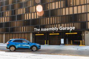 a self-parking car outside Ford's demonstration garage