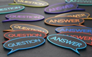 Conversation bubbles with the words question and answer.