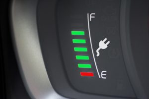 Fuel gauge showing charge left in an electric car