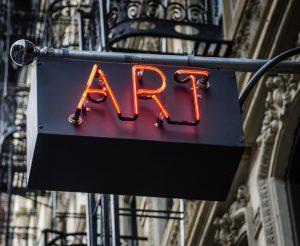 Neon Art Sign in Urban Setting