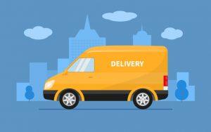 Cartoon delivery van in a city.