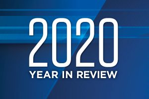"Blue box with ""2020 Year in Review"" on it."