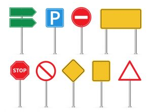 Road signs set. Vector illustration. on white background