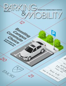 Cover of Parking & Mobility magazine, March 2021