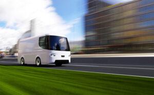 white electric self-driving van