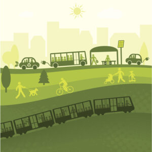 Illustration of different transportation modes against a green background