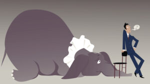 Nonchalant man attempting to hide an elephant under a chair, vector illustration, EPS 8