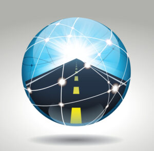 Crystal ball with a road in it.