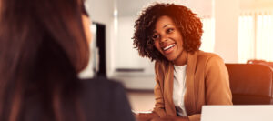 Professional mentor helping mentee