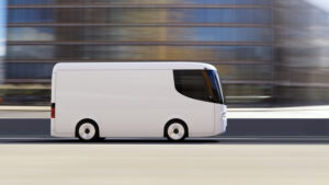 white electric self-driving generic van for branding with copy space driving in city. 3D rendering image.